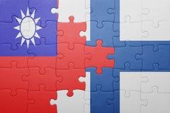 Γρίφος με τη εθνική σημαία της Ταϊβάν και της Φινλανδίας Στοκ Φωτογραφία