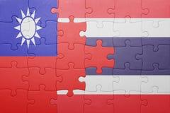 Γρίφος με τη εθνική σημαία της Ταϊλάνδης και της Ταϊβάν Στοκ Φωτογραφίες