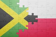 Γρίφος με τη εθνική σημαία της Τζαμάικας και της Πολωνίας Στοκ Εικόνες