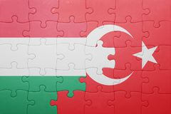 Γρίφος με τη εθνική σημαία της Τουρκίας και της Ουγγαρίας Στοκ Φωτογραφίες