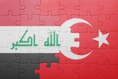 Γρίφος με τη εθνική σημαία της Τουρκίας και του Ιράκ Στοκ φωτογραφία με δικαίωμα ελεύθερης χρήσης