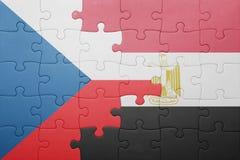 γρίφος με τη εθνική σημαία της Τσεχίας και της Αιγύπτου Στοκ εικόνα με δικαίωμα ελεύθερης χρήσης