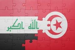 γρίφος με τη εθνική σημαία της Τυνησίας και του Ιράκ Στοκ Εικόνες