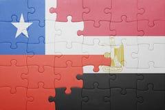 γρίφος με τη εθνική σημαία της Χιλής και της Αιγύπτου Στοκ εικόνα με δικαίωμα ελεύθερης χρήσης