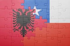 Γρίφος με τη εθνική σημαία της Χιλής και της Αλβανίας Στοκ Φωτογραφία