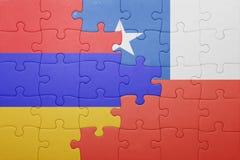 Γρίφος με τη εθνική σημαία της Χιλής και της Αρμενίας Στοκ φωτογραφίες με δικαίωμα ελεύθερης χρήσης
