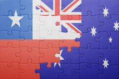 Γρίφος με τη εθνική σημαία της Χιλής και της Αυστραλίας Στοκ Εικόνα
