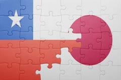 Γρίφος με τη εθνική σημαία της Χιλής και της Ιαπωνίας Στοκ Εικόνες