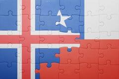 Γρίφος με τη εθνική σημαία της Χιλής και της Ισλανδίας Στοκ Εικόνες