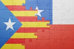 Γρίφος με τη εθνική σημαία της Χιλής και της Καταλωνίας Στοκ φωτογραφίες με δικαίωμα ελεύθερης χρήσης