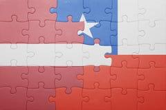 Γρίφος με τη εθνική σημαία της Χιλής και της Λετονίας Στοκ Εικόνες