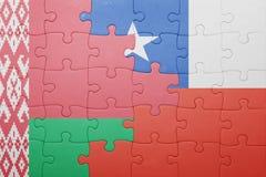 Γρίφος με τη εθνική σημαία της Χιλής και της Λευκορωσίας Στοκ εικόνα με δικαίωμα ελεύθερης χρήσης
