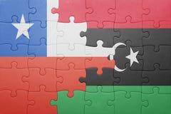 γρίφος με τη εθνική σημαία της Χιλής και της Λιβύης Στοκ Εικόνες