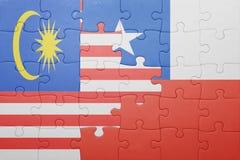 Γρίφος με τη εθνική σημαία της Χιλής και της Μαλαισίας Στοκ Φωτογραφίες