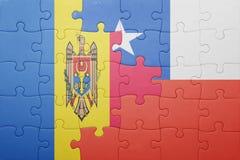 Γρίφος με τη εθνική σημαία της Χιλής και της Μολδαβίας Στοκ Εικόνα