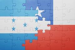 Γρίφος με τη εθνική σημαία της Χιλής και της Ονδούρας Στοκ Εικόνες