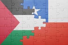 Γρίφος με τη εθνική σημαία της Χιλής και της Παλαιστίνης Στοκ φωτογραφίες με δικαίωμα ελεύθερης χρήσης