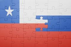 Γρίφος με τη εθνική σημαία της Χιλής και της Ρωσίας Στοκ Εικόνες