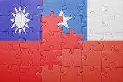 Γρίφος με τη εθνική σημαία της Χιλής και της Ταϊβάν Στοκ Εικόνες
