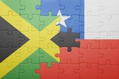 Γρίφος με τη εθνική σημαία της Χιλής και της Τζαμάικας Στοκ φωτογραφία με δικαίωμα ελεύθερης χρήσης