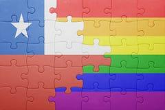 Γρίφος με τη εθνική σημαία της Χιλής και την ομοφυλοφιλική σημαία Στοκ Φωτογραφία