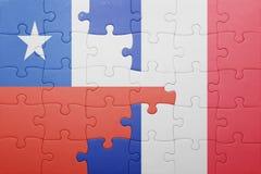 Γρίφος με τη εθνική σημαία της Χιλής και της Γαλλίας Στοκ Εικόνες