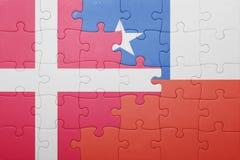Γρίφος με τη εθνική σημαία της Χιλής και της Δανίας Στοκ φωτογραφία με δικαίωμα ελεύθερης χρήσης