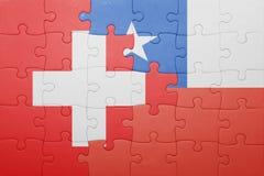 Γρίφος με τη εθνική σημαία της Χιλής και της Ελβετίας Στοκ φωτογραφίες με δικαίωμα ελεύθερης χρήσης