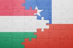 Γρίφος με τη εθνική σημαία της Χιλής και της Ουγγαρίας Στοκ εικόνες με δικαίωμα ελεύθερης χρήσης