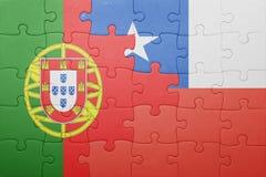 Γρίφος με τη εθνική σημαία της Χιλής και της Πορτογαλίας Στοκ εικόνες με δικαίωμα ελεύθερης χρήσης