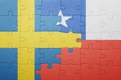 Γρίφος με τη εθνική σημαία της Χιλής και της Σουηδίας Στοκ Εικόνες