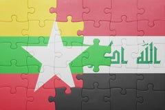 Γρίφος με τη εθνική σημαία της Myanmar και του Ιράκ Στοκ φωτογραφίες με δικαίωμα ελεύθερης χρήσης