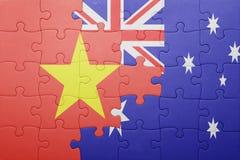 Γρίφος με τη εθνική σημαία του Βιετνάμ και της Αυστραλίας Στοκ Φωτογραφία