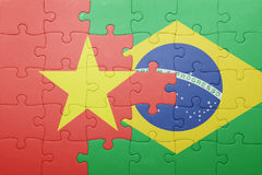Γρίφος με τη εθνική σημαία του Βιετνάμ και της Βραζιλίας Στοκ φωτογραφίες με δικαίωμα ελεύθερης χρήσης