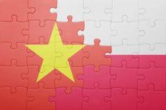 Γρίφος με τη εθνική σημαία του Βιετνάμ και της Πολωνίας Στοκ φωτογραφία με δικαίωμα ελεύθερης χρήσης