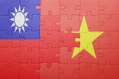 Γρίφος με τη εθνική σημαία του Βιετνάμ και της Ταϊβάν Στοκ Εικόνα