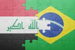 Γρίφος με τη εθνική σημαία του Ιράκ και της Βραζιλίας Στοκ φωτογραφίες με δικαίωμα ελεύθερης χρήσης