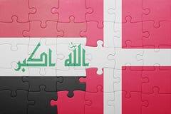 Γρίφος με τη εθνική σημαία του Ιράκ και της Δανίας Στοκ Φωτογραφίες