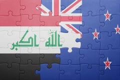 Γρίφος με τη εθνική σημαία του Ιράκ και της Νέας Ζηλανδίας Στοκ Φωτογραφίες