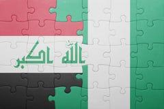 γρίφος με τη εθνική σημαία του Ιράκ και της Νιγηρίας Στοκ Εικόνες