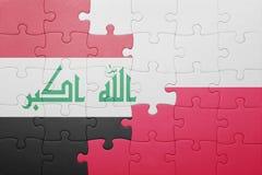 Γρίφος με τη εθνική σημαία του Ιράκ και της Πολωνίας Στοκ φωτογραφία με δικαίωμα ελεύθερης χρήσης