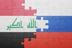 Γρίφος με τη εθνική σημαία του Ιράκ και της Ρωσίας Στοκ φωτογραφία με δικαίωμα ελεύθερης χρήσης