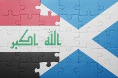 γρίφος με τη εθνική σημαία του Ιράκ και της Σκωτίας Στοκ Φωτογραφίες