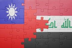 Γρίφος με τη εθνική σημαία του Ιράκ και της Ταϊβάν Στοκ Εικόνες