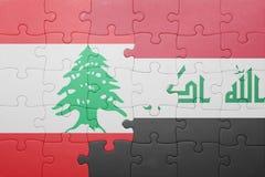 Γρίφος με τη εθνική σημαία του Ιράκ και του Λιβάνου Στοκ εικόνες με δικαίωμα ελεύθερης χρήσης