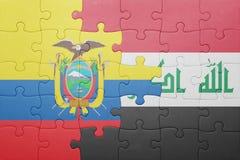 Γρίφος με τη εθνική σημαία του Ισημερινού και του Ιράκ Στοκ Φωτογραφίες