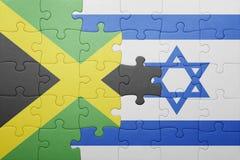 Γρίφος με τη εθνική σημαία του Ισραήλ και της Τζαμάικας Στοκ Φωτογραφία