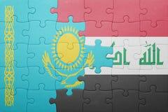 Γρίφος με τη εθνική σημαία του Καζακστάν και του Ιράκ Στοκ Φωτογραφία