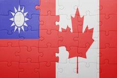 Γρίφος με τη εθνική σημαία του Καναδά και της Ταϊβάν Στοκ Εικόνες