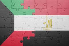 γρίφος με τη εθνική σημαία του Κουβέιτ και της Αιγύπτου Στοκ εικόνα με δικαίωμα ελεύθερης χρήσης